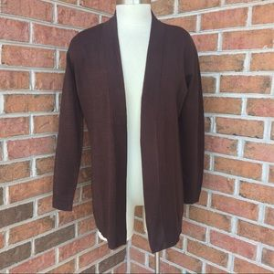 JM Collection Brown open front sweater